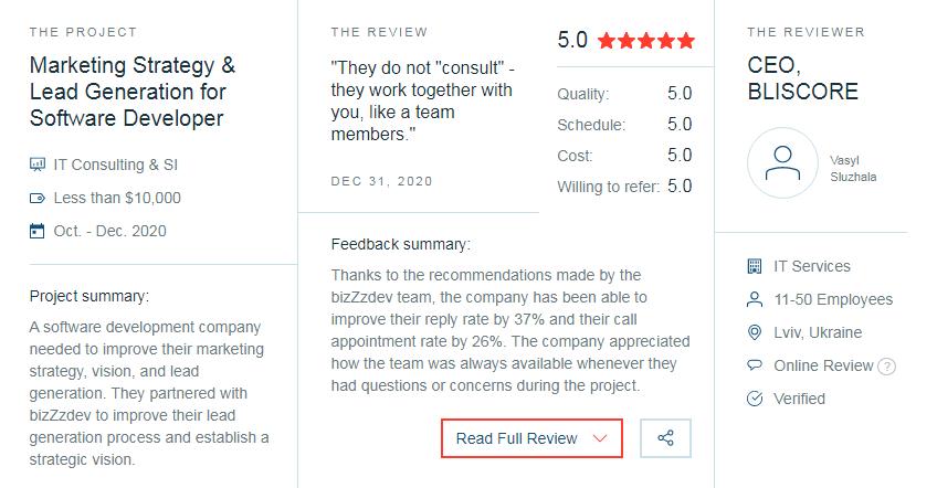 Clutch назвал BizZzdev ТОП агентство B2B, Сервис «Clutch» назвал bizZzdev.com лучшим агентством в сфере B2B консалтинга 2021